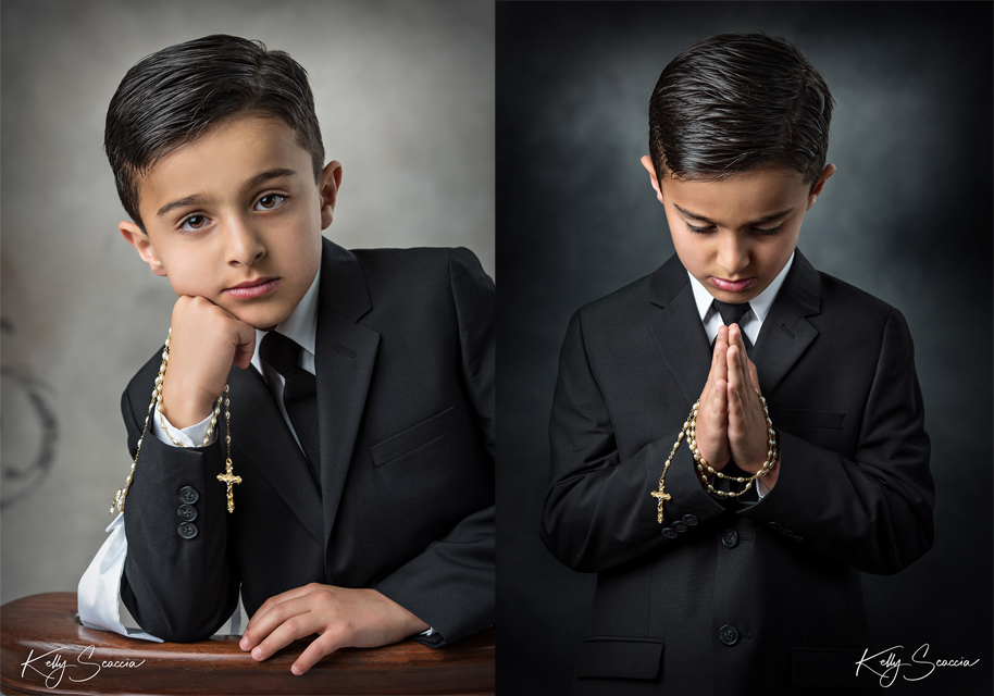 Two images of same boy one praying looking down and the other with his right hand against his cheek leaning against a kneeler