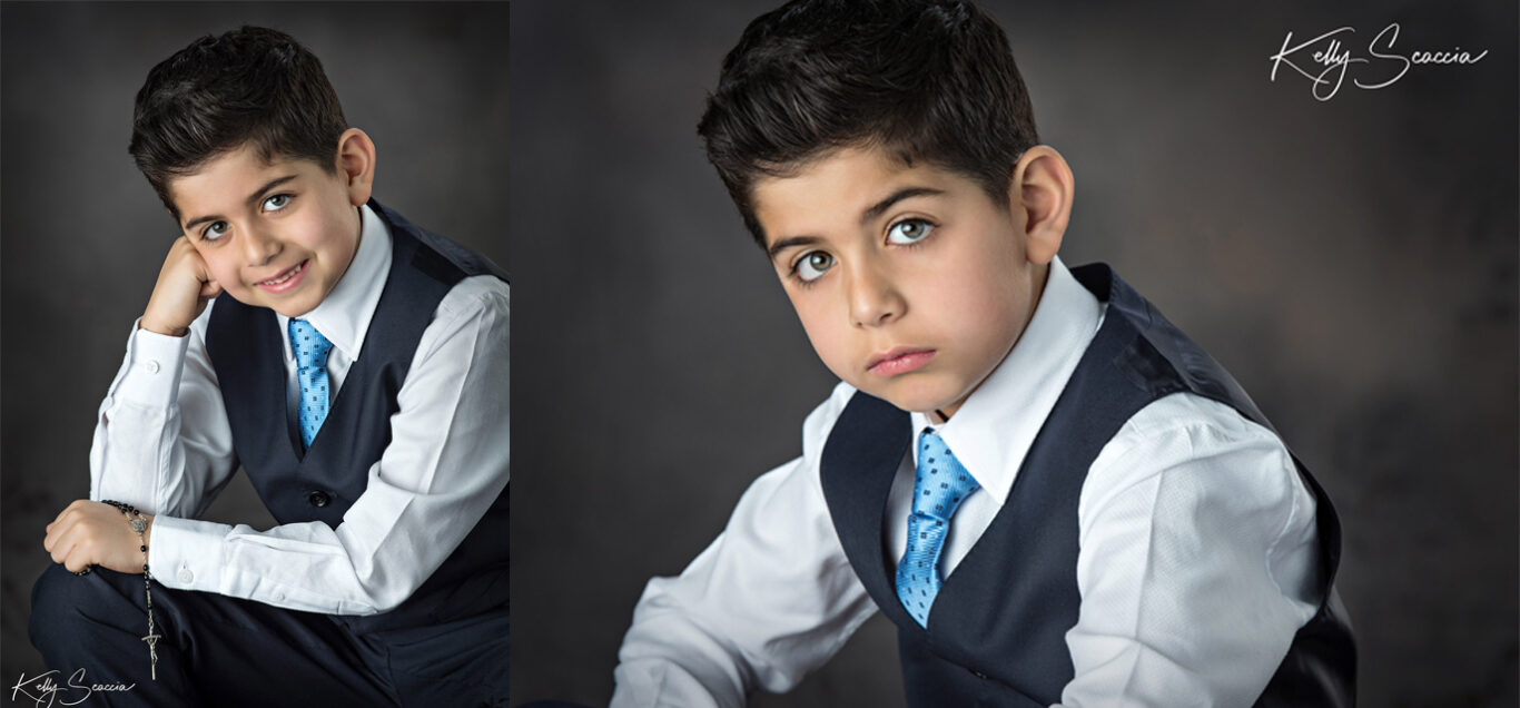 Two images of same boy in a tie and vest one close up serious and the other smiling leaning on his right hand against his cheek