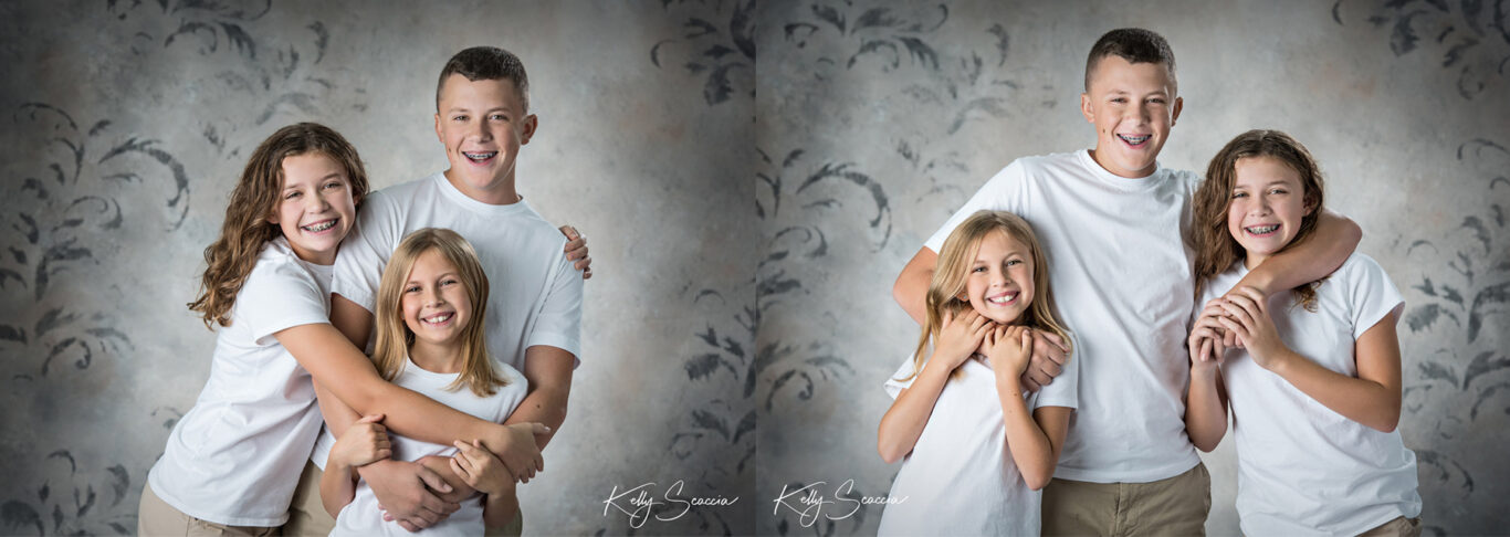 Two images of same subjects including older brother and two younger sisters in white shirts with arms around each other smiling and laughing