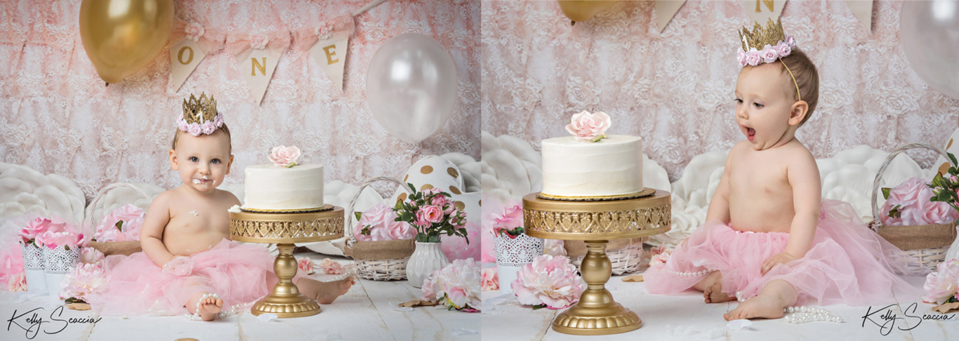 Two images of same baby girl sitting with a white cake wearing pink skirt and gold crown
