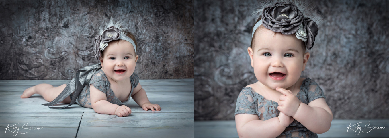 Two images of same baby girl smiling wearing lace romper with matching headband laying on stomach and sitting up while holding hands